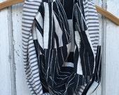30%OFF SUPER SALE- Reversible Infinity Scarf-Modern Black-Stripes-Women-Teen
