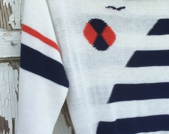 40% FLASH SALE- Vintage Ugly Sweater -Nautical -Sweater Party