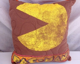 30%OFF SUPER SALE- Pac Man Throw Pillow- Throw Pillow--Upcycled Eco Friendly-Quilted
