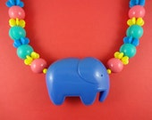 Huge Rainbow Elephant Necklace - blue plastic elephant, chunky gumball beads, statement necklace, retro cute kitsch, Harajuku Decora, fun!!!