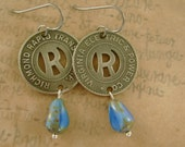 Ready in Richmond - Vintage Richmond Virginia Letter R Transit Tokens Turquoise Niobium Recycled Repurposed Jewelry Earrings