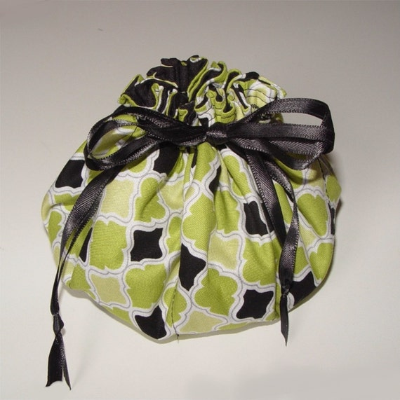 Jewelry pouch travel bag drawstring black green jewellery for Drawstring jewelry bag pattern