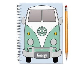 VW Split Window Single Cab Personalized Notebook, Father's Day Gift, Custom Present for Man, Brother, Husband, Double Cab, SKU: gum