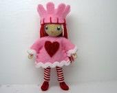 Valentine Princess Bendy Doll- Waldorf Bendable Felt Doll- Dollhouse Doll- Miniature Waldorf Nature Table  Princess- Small Doll- Queen Heart
