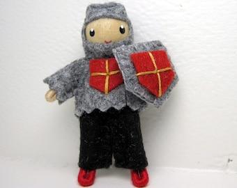 Knight Bendy Doll by Princess Nimble-Thimble, Waldorf bendable felt boy figure, adventure