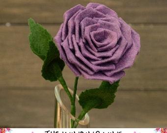 Large Felt Purple Rose Flower Stem - Single or Bouquet for Home Decor/Wedding/Gift