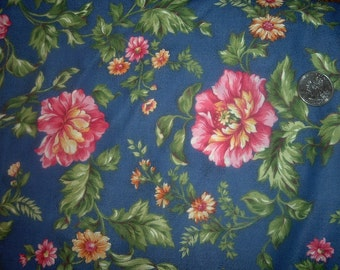 Quilt Fabric Destash  Pink Yellow Flowers on Blue Cranston By the Yard