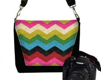 Women's Dslr Camera Bag Purse for Nikon Canon Sony Colorful Chevron Messenger Style Camera Case, pink red blue green black RTS
