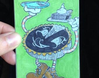 "Original ACEO/ ATC - ""self serving"" - multimedia art trading card - 092"
