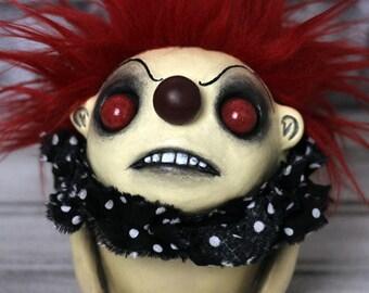 Creepy Cute Clown Sculpture - Red Bruno Mini - OOAK Art Doll