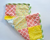 Doll Quilt - Baby Doll Blanket Quilt - Patchwork American Girl Blanket - Yellow Coral Green Doll Blanket