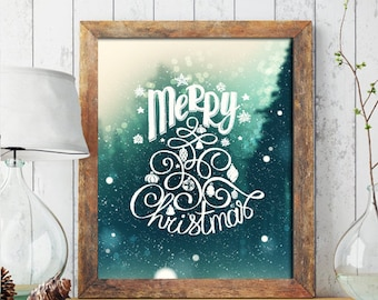 Christmas PRINTABLE ART, Merry Christmas Printable, Winter Decor, Holiday Decor, Christmas Print, Wreath, Christmas Printable 230
