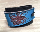Leather Cuff Unisex Wrap, Octopus Digital Photo Print on 100% Genuine Leather