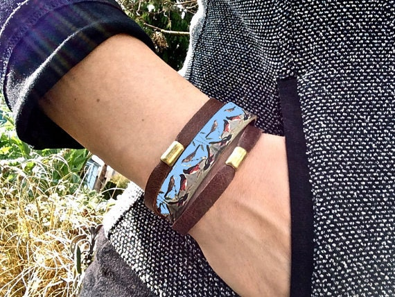 NEW Layered Leather Bracelet & Brass Beads, Song Birds Digital Photo Print on 100% Genuine Leather, Stacking Cuff