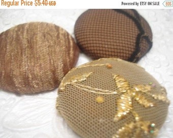 CLEARANCE Brown/gold - 3 fabric  covered buttons -1.5 inches - size 60 - only one set available