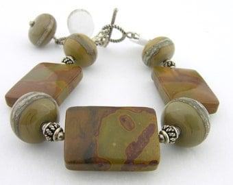 Taupe Lampwork, Brown Green Autumn Jasper Sterling Bracelet - Earthy cserpentDesigns silver