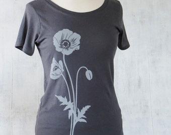 Womens Graphic T Shirt - Organic Cotton Jersey T Shirt - Womens Tee Shirt - Grey Tee Shirt - Ladies Screen Printed TShirt- Poppy T Shirt