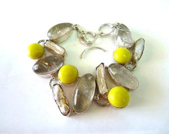 Bracelet Rutilated Quartz Yellow Jade and Keshi Pearl Sterling Silver Set Bezel Bracelet