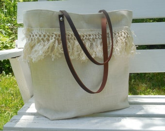 Linen Tassel Bag Leather Handles Beach Bag Tote