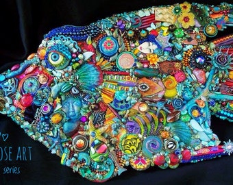 The Fantastic Bead Mosaics© Big Fish series The Rainbow AngelFish