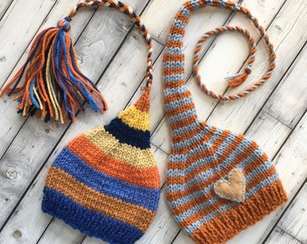 Newborn Baby Boy TWiN HaTs BaBY PHoTo PRoP FCN Tassel Beanie & Heart MuNCHKiN Stocking Cap LoNG TAiL Blue Rust Orange Gold Stripe Toques RTS