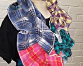 Ruffled infinity scarf from recycled thrift store flannel shirts Pink Blue Yellow Red Black winter Country