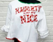 Womens XL holiday off shoulder sweatshirt with appliqué.  Naughty is the new nice.