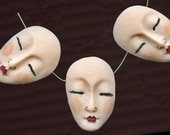3 Polymer Detailed Asian Face Beads Top drilled AFB 3