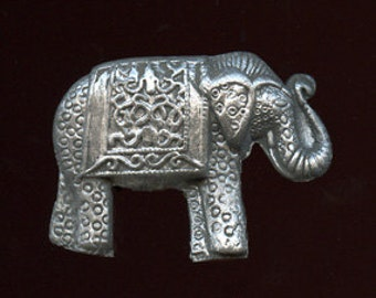 Polymer Clay  Grey Textured with Silver Elephant Cab   Undrilled  GSELE 2