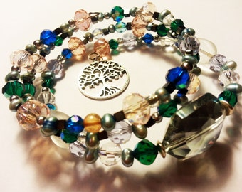Memory wire bracelet with tree of life charm pink, blue, green
