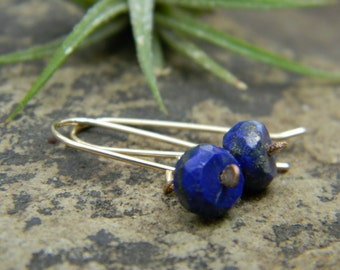 Blue Lapis and 14k Gold filled Earrings -  14k gold filled earwires