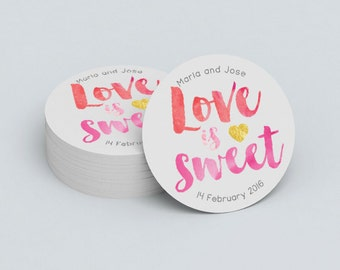 Custom Wedding Stickers - Love is Sweet Stickers - Wedding Favors - Custom Stickers - Custom Logo Stickers - Adhesive Labels