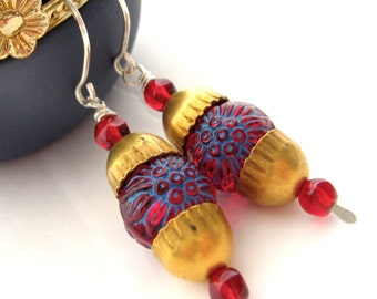 Handmade Beaded Earrings, 1.25 Inch Drop, Carved Garnet Ruby Blue Floral Acrylic Bead, Brass Acorn Bead Caps, Moroccan Style, Exotic Design