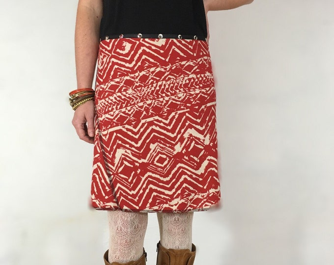 "Snap Around Skirt. ""Classic Tunic"" Red Skirt, One Size"