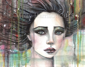 Original Painting - Melancholy - Abstract Watercolor Face of Woman - Molly Harrison Fantasy Art - Mixed Media - Modern, Contemporary