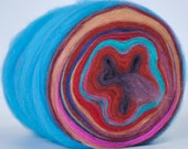WHIRLING DIRVISH- Self Striping Spontaneous Spinning Roving Bullseye Bump - (5.1 oz. center-pull bump)