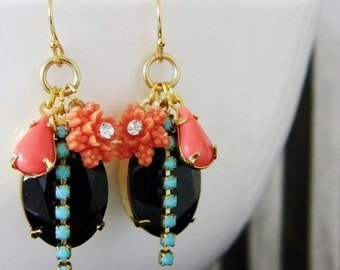 SALE Coral Turquoise Jet Black Swarovski Rhinestone Flower Earrings