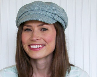Womens Newsboy Cap - Blue and Ivory Wool herringbone - Womens Wool Hat Newsboy Hat- Womens Hat - L
