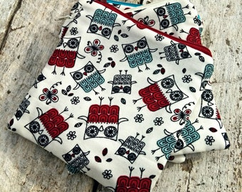 Red and blue Owls and flowers and butterflies Square Zipper Pouch