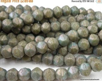 25% OFF Summer Sale 6mm English Cut Beads -  Matte Turquoise Bronze Iris - Czech Glass 25 pcs (G - 137)