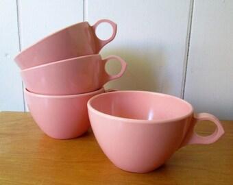 4 vintage pink melmac cups Windsor