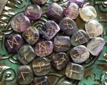 Rainbow Fluorite Crystal Runes Rune Set gemstone divination tool with pouch and instructions