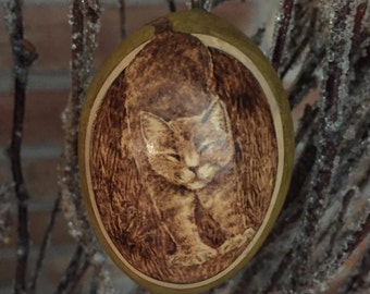 Stretching Cat Ornament egg gourd