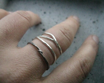 Branch, simple silver ring, modern minimalist ring, hammered silver or brass, adjustable ring