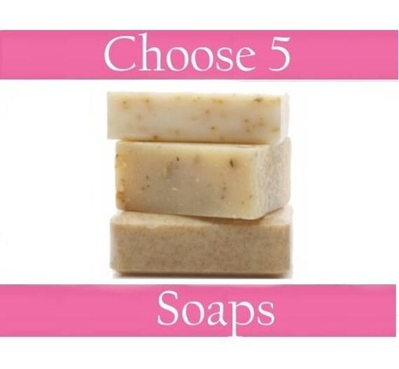 Choose 5 Bars of Handmade Cold/Hot Process Soaps