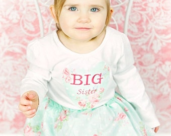 Shabby chic embroidered BIG SISTER OUTFIT in aqua and pink floral.. girls clothing