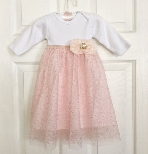 Shabby chic baby GOWN in cream peach and gold Special
