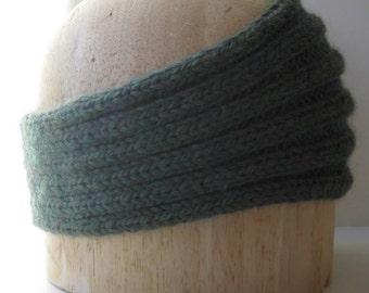 Heather Green Headband - Handknit in Baby Alpaca Yarn - Soft and Warm