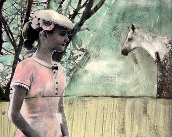 textured painting vintage girl pink dress with white horse