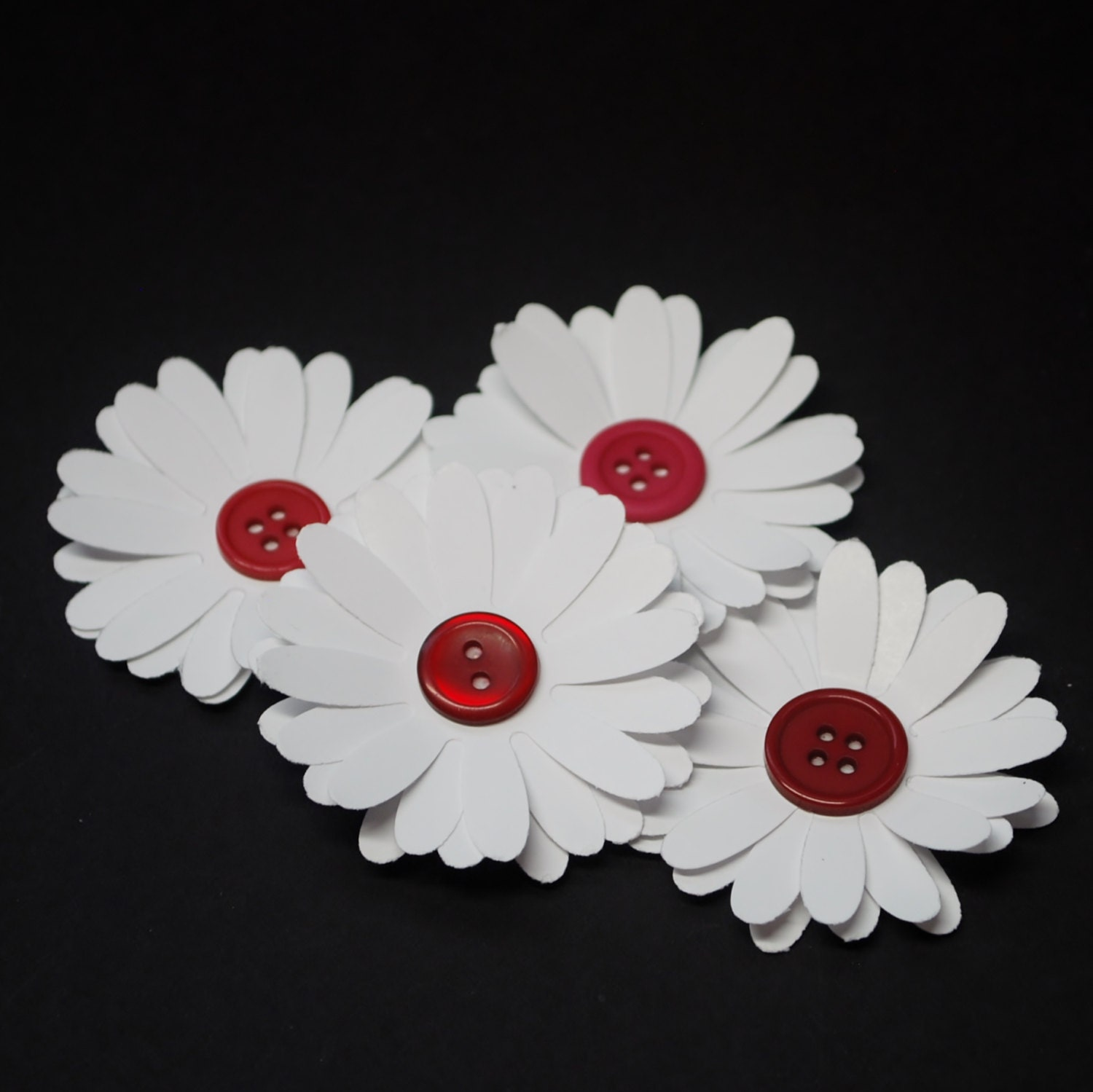 Paper Flowers, daisies with burgundy button centers, daisy flowers ...